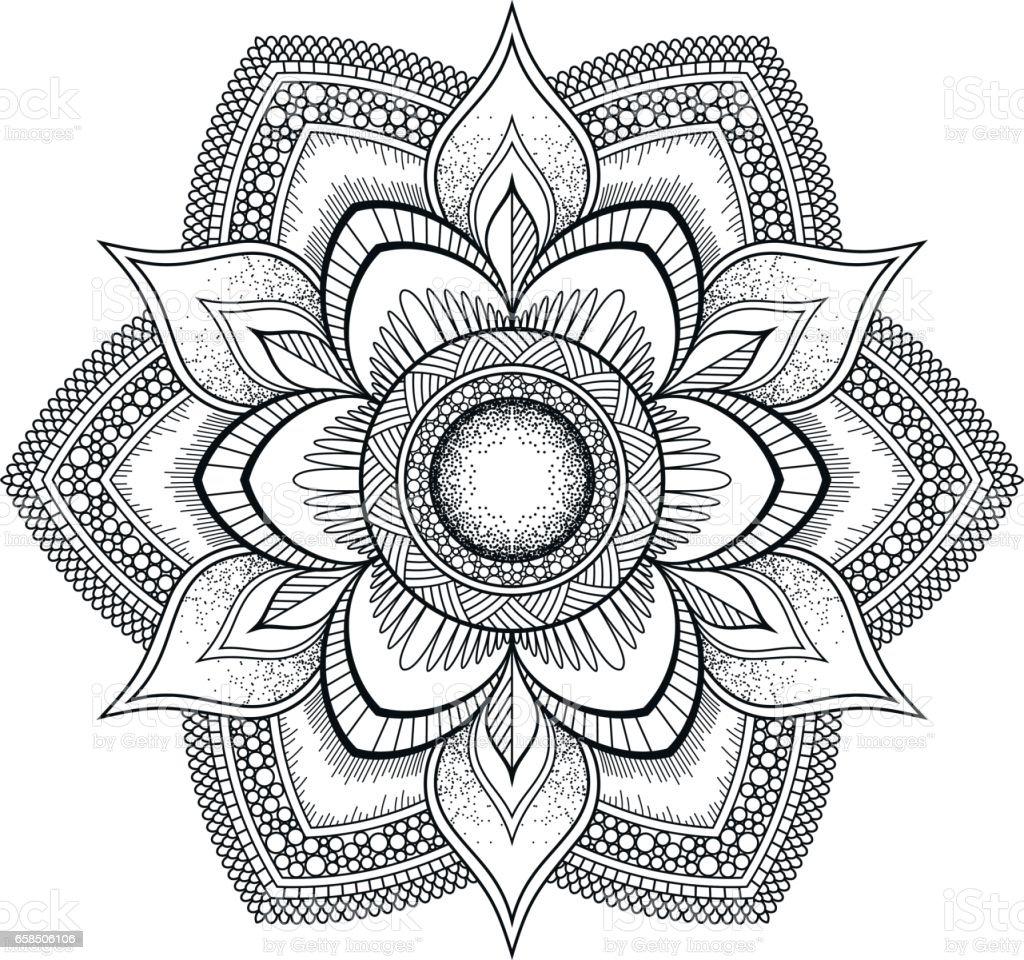 Flower Black Mandala Oriental Pattern Vector Illustration Islam Arabic Indian Ottoman Motifs