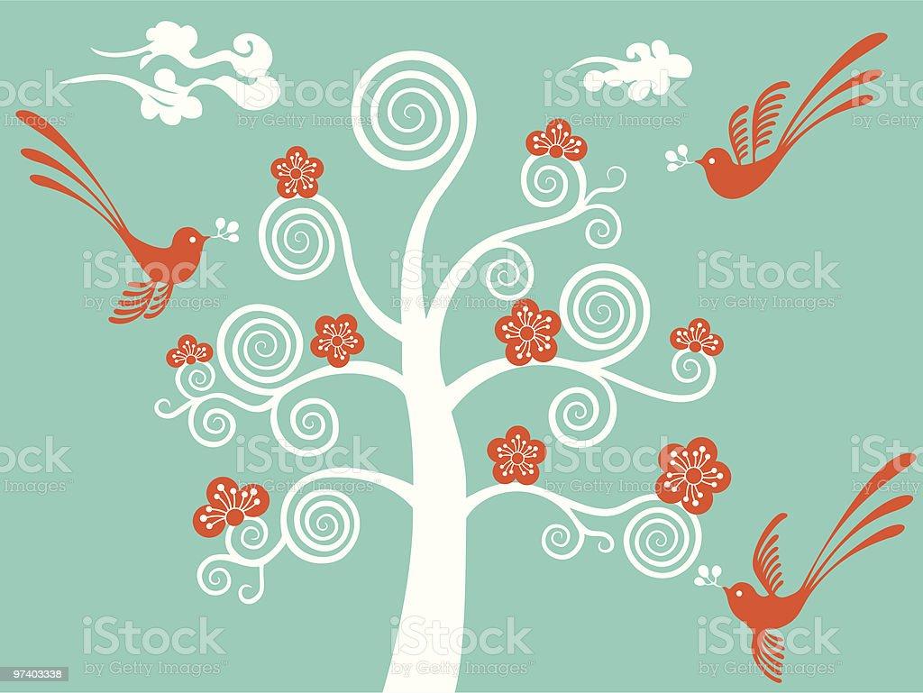 Flower Blossom & Birds royalty-free stock vector art