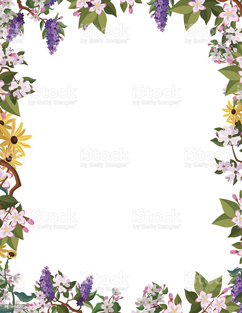 flower border frame vector art illustration