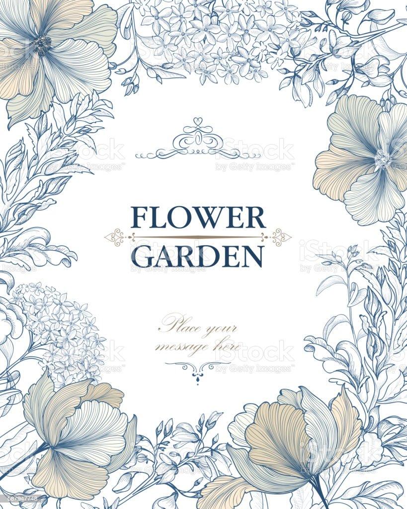 Flower bouquet background. Floral frame. Flourish greeting card. vector art illustration