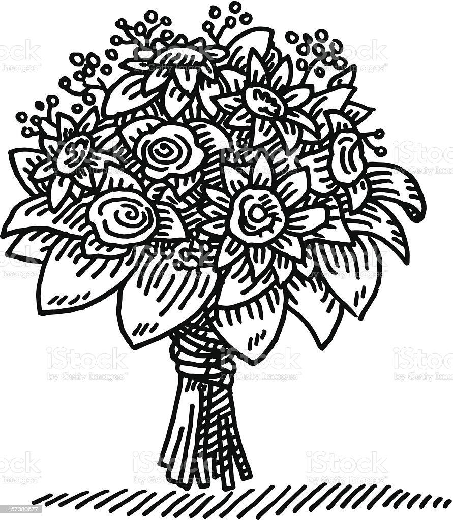 Flower Bouquet Drawing vector art illustration