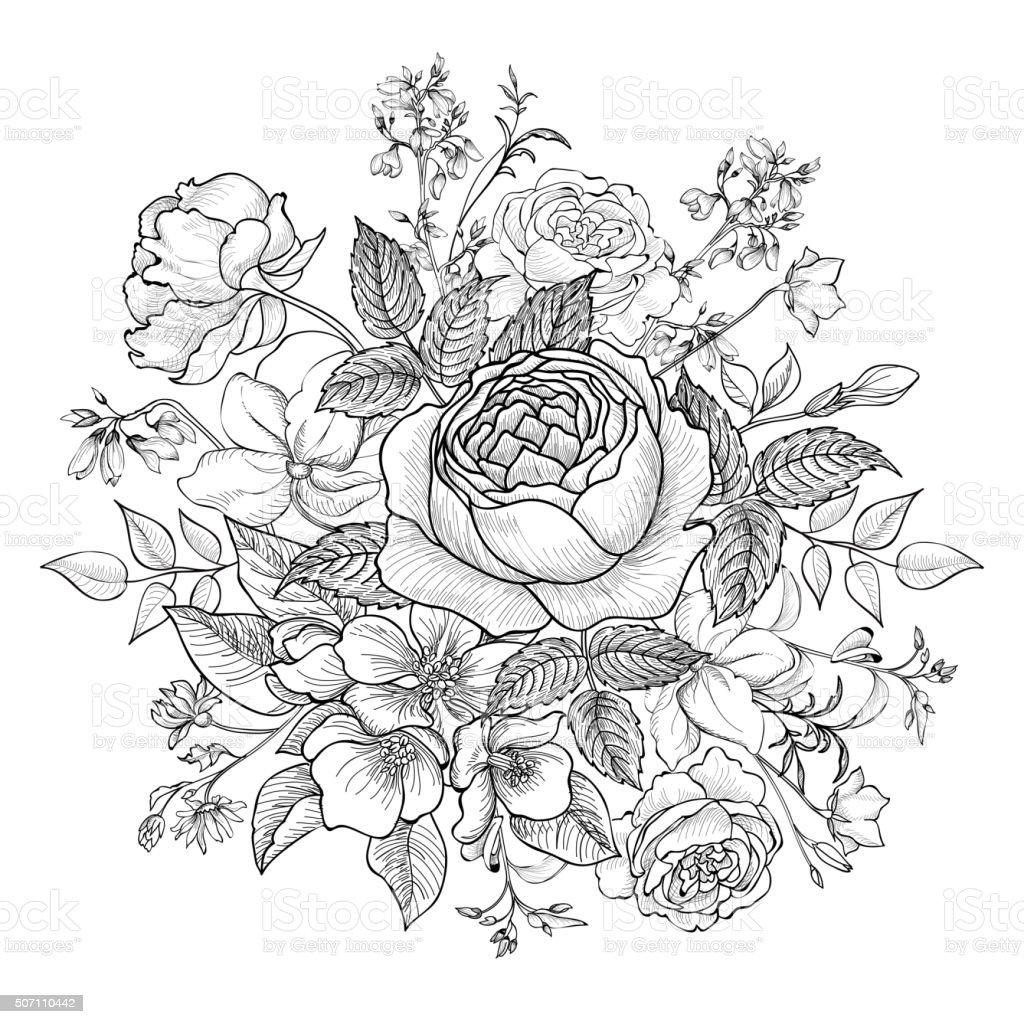 Flower bouquet. Floral backgound. Flourish greeting card. vector art illustration