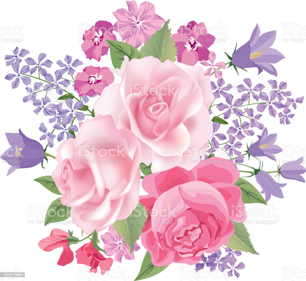 Flower bouquet isolated Floral background. Flourish greeting card. vector art illustration