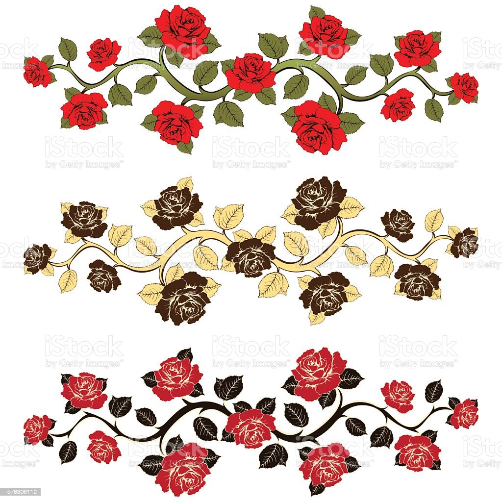 Flower branch roses set. Ornament with roses. Floral print royalty-free stock vector art