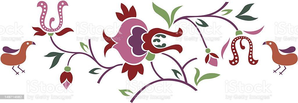 Ramoscello di fiori con uccelli illustrazione royalty-free