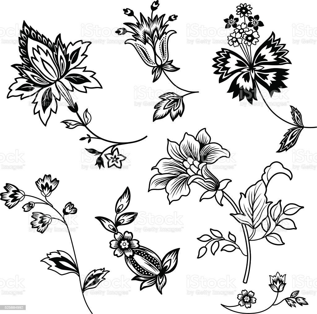 Flower branches black outline set vector art illustration