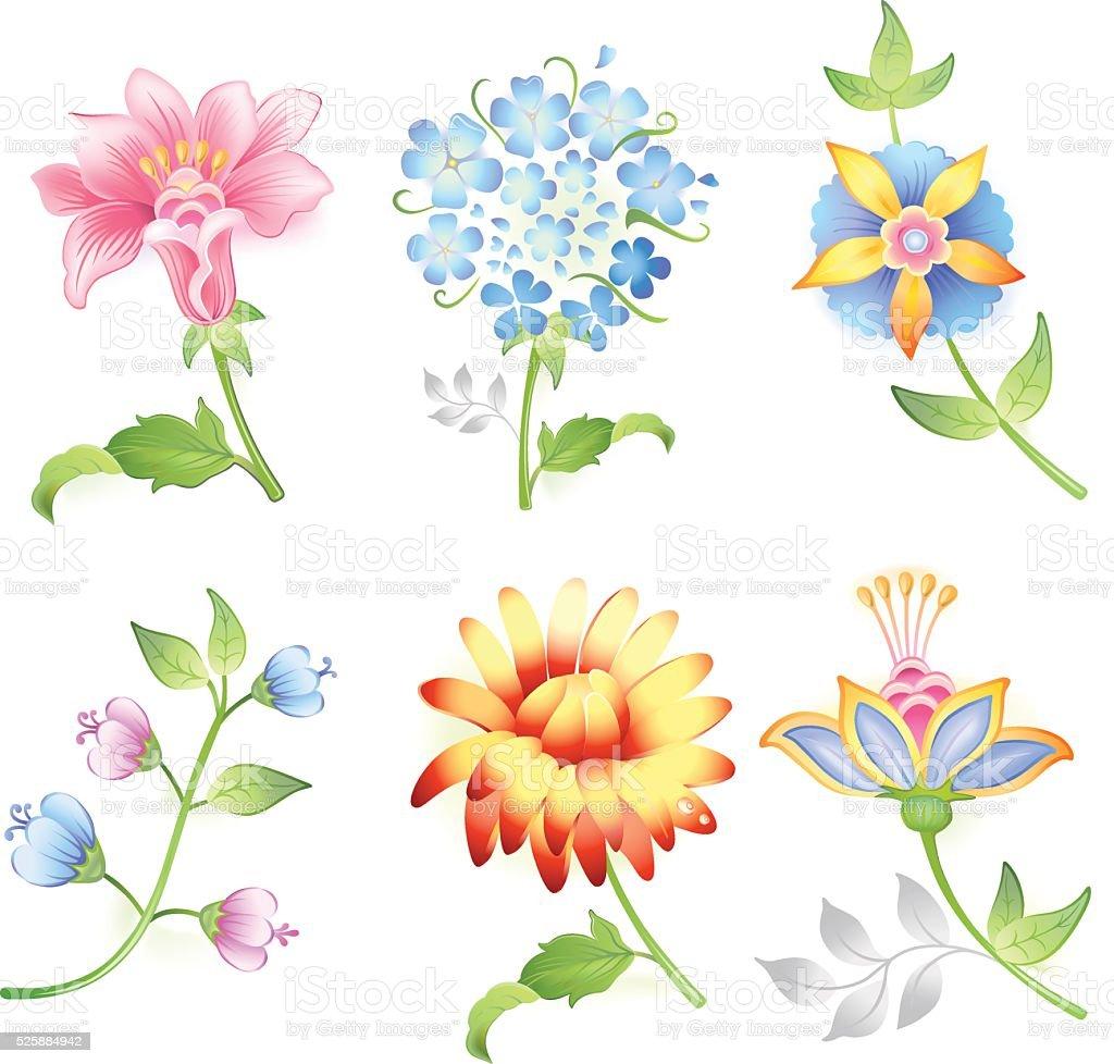 Flower branches set vector art illustration