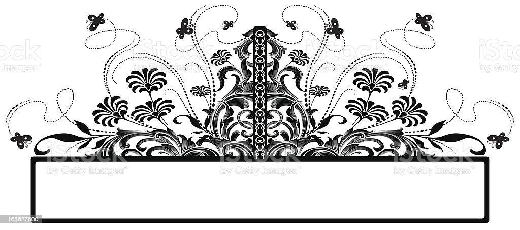 Flower Butterfly Banner floral scrollwork vector art illustration