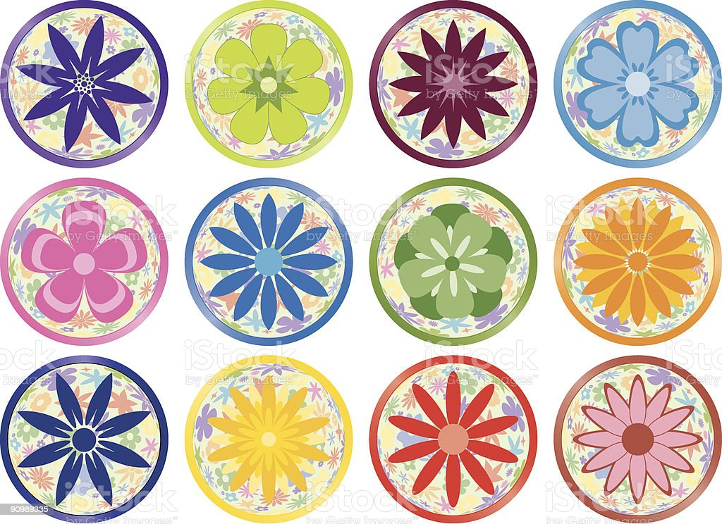 Flower Buttons or Icons royalty-free stock vector art