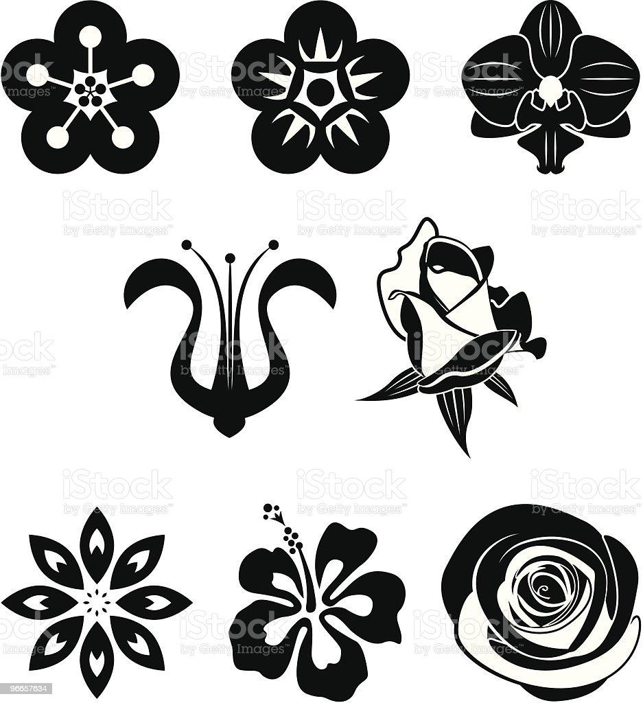 Flower collection vector art illustration