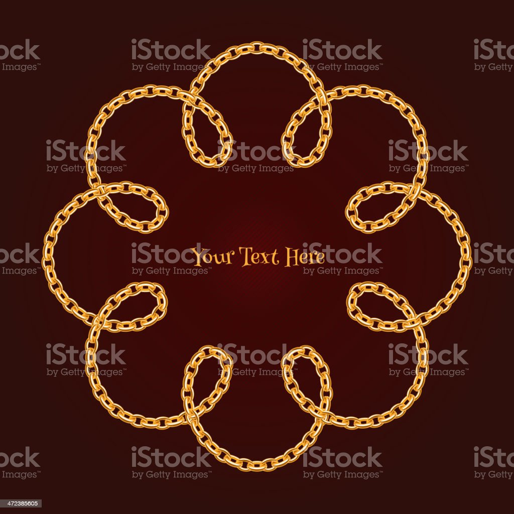Flower curled golden anchor chain background. Dark red back. royalty-free stock vector art