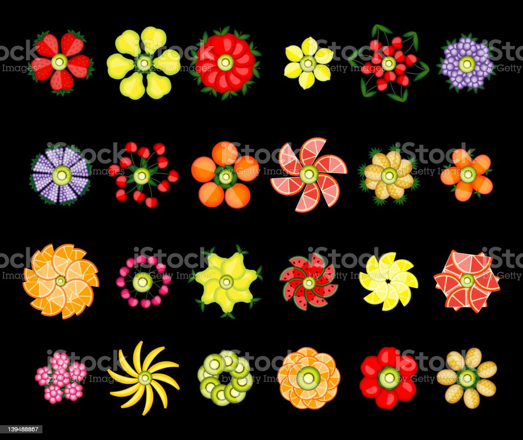 Flower design set made from fruits royalty-free stock vector art