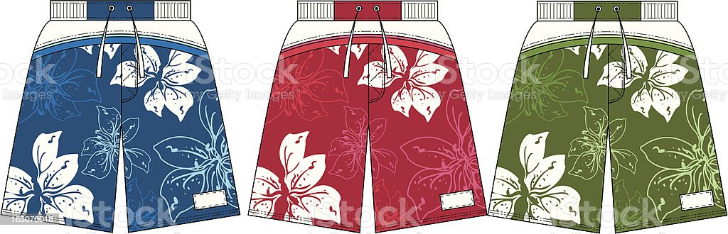 Flower Design Surf Board Beach Shorts vector art illustration