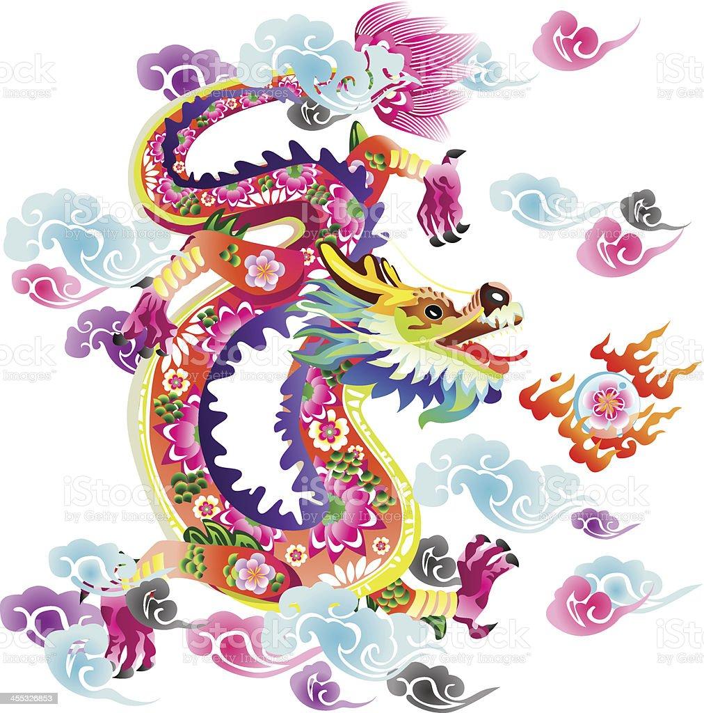 Flower Dragon vector art illustration