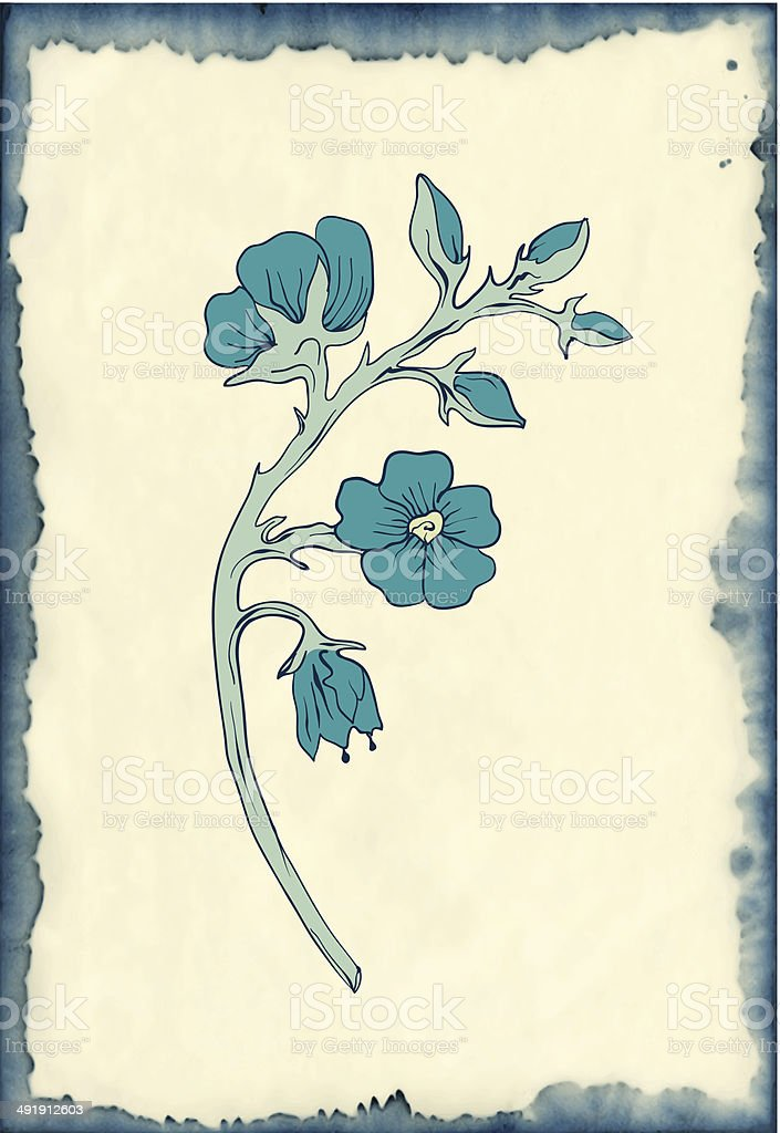 flower drawing on blotted background vector art illustration