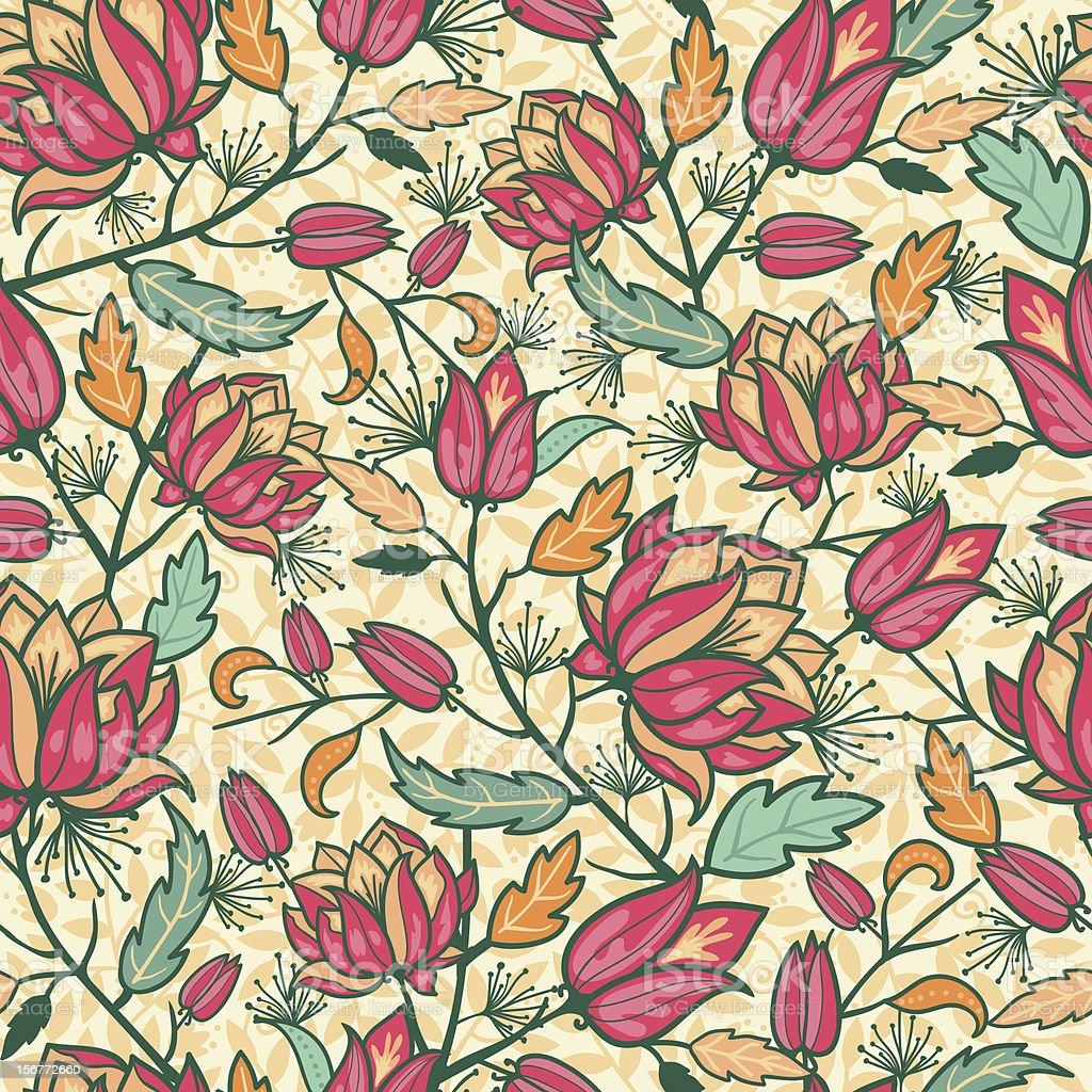 Flower Dream Seamless Pattern Background royalty-free stock vector art