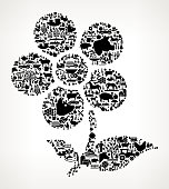 Flower Farming and Agriculture Black Icon Pattern