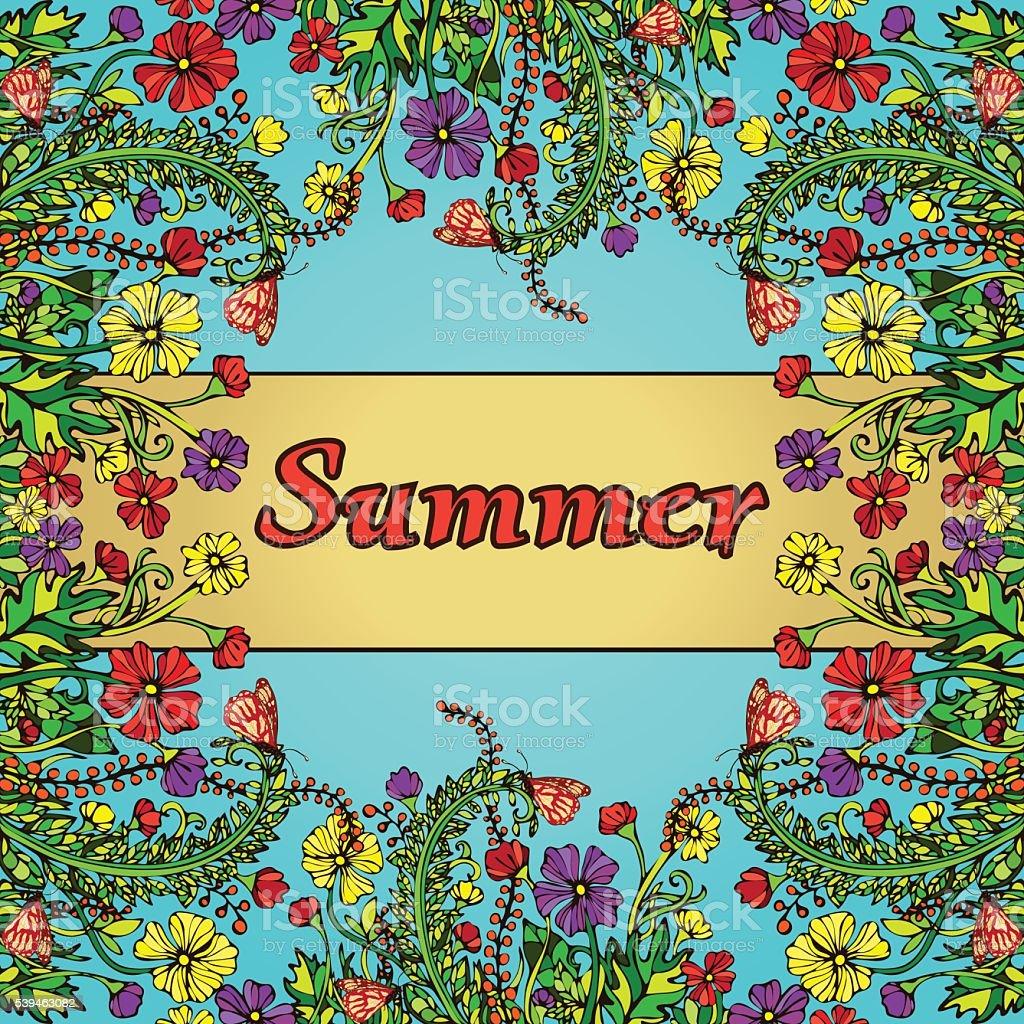 Flower frame, border, card, summer ornament royalty-free stock vector art