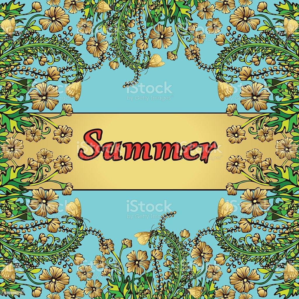 Flower frame, gold border, card, summer ornament royalty-free stock vector art