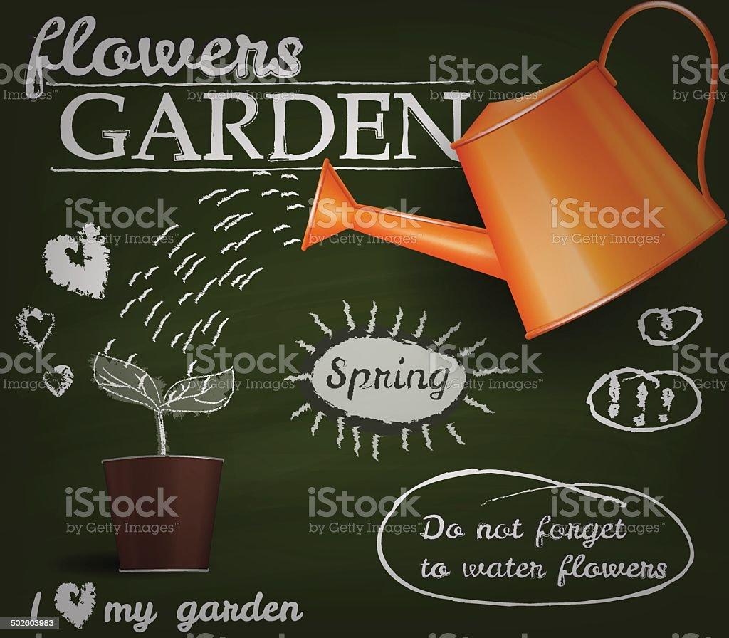 Flower garden poster vector art illustration
