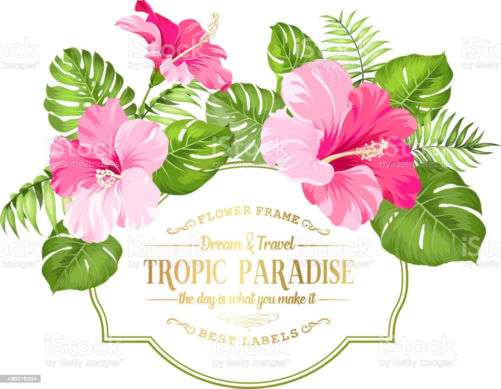 Flower garland for invitation card vector art illustration