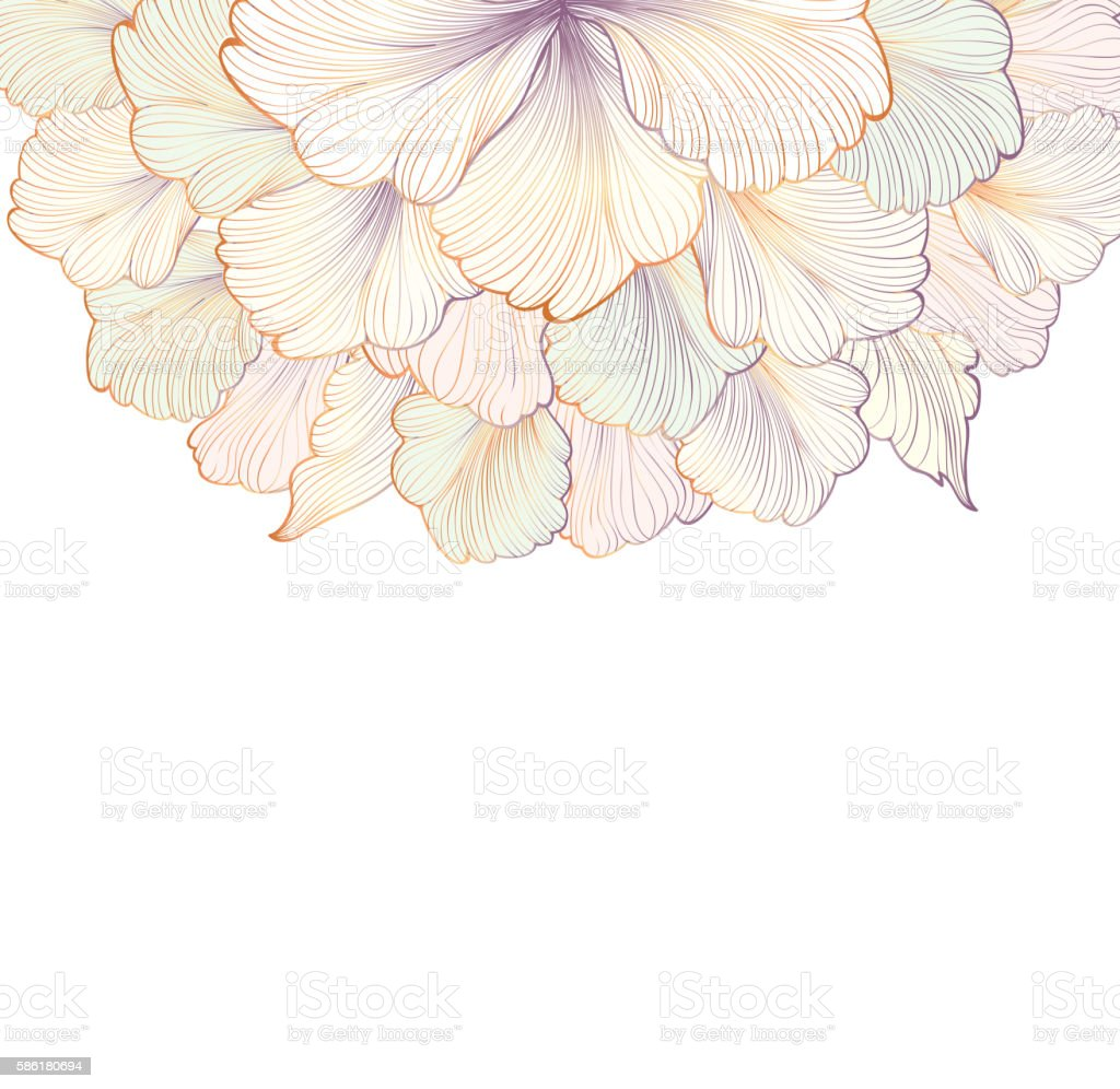 Flower gentle white background. Floral frame. Flourish greeting card. vector art illustration
