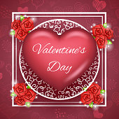 Flower Heart Text Valentine Day Greating Card Template Mock up