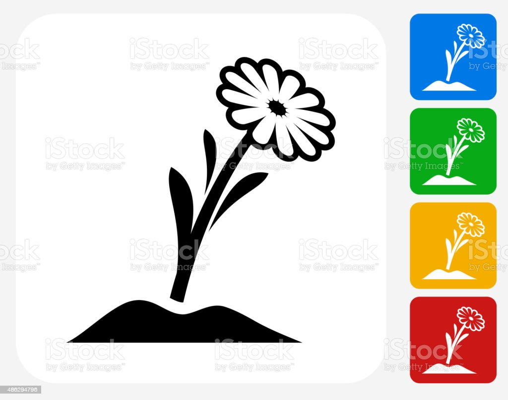 Flower Icon Flat Graphic Design vector art illustration