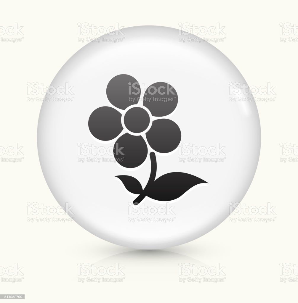 Flower icon on white round vector button vector art illustration