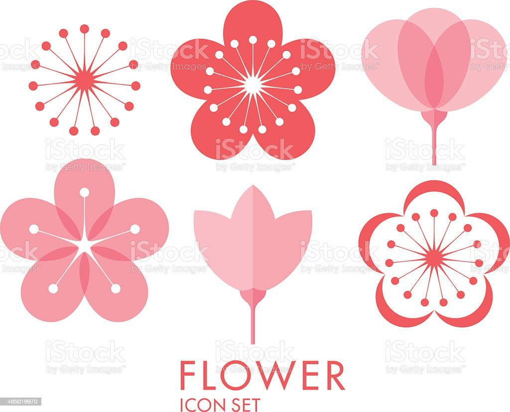 Flower. Icon set. Sakura vector art illustration