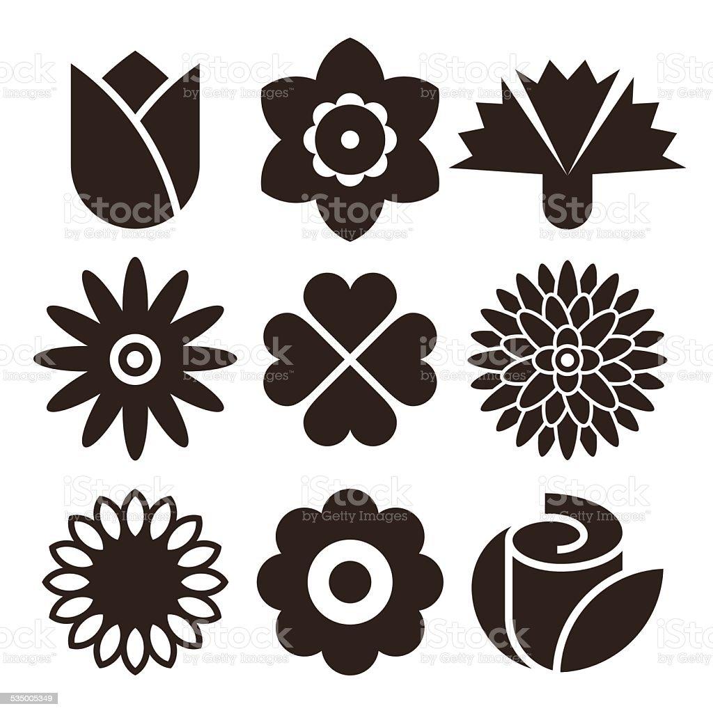 Flower icon set vector art illustration