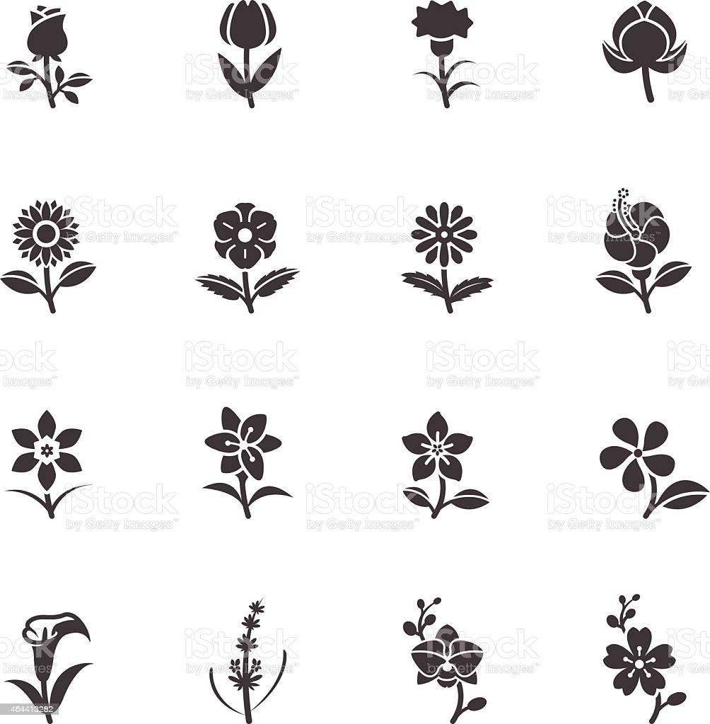 Flower Icons for Pattern vector art illustration