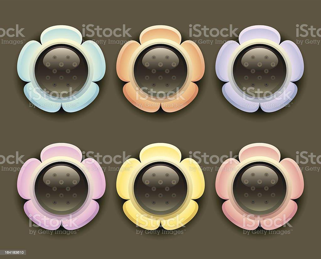 Flower Icons (Black) vector art illustration