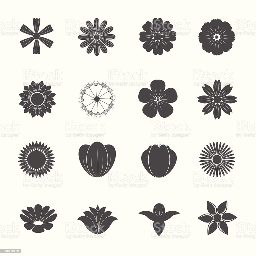 Flower Icons vector art illustration