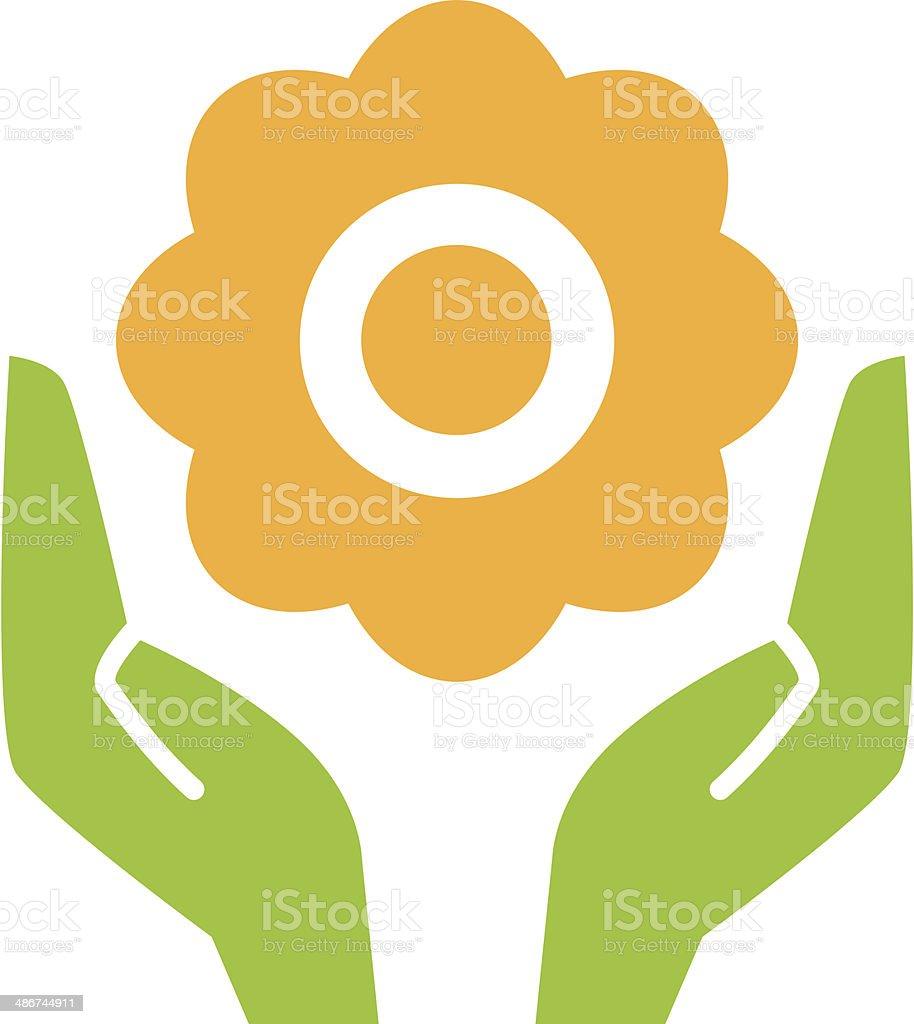 Flower in hands vector art illustration
