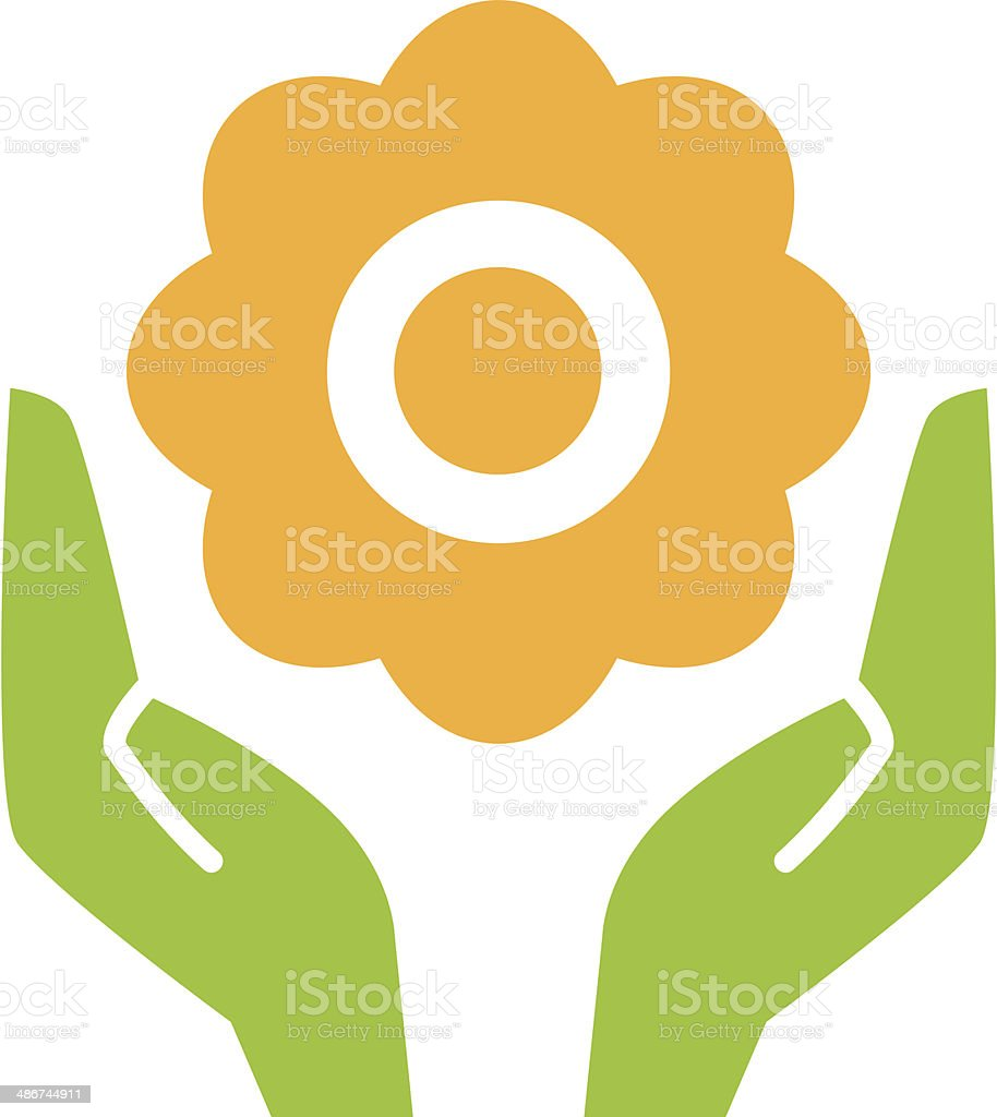 Flower in hands vector art illustration