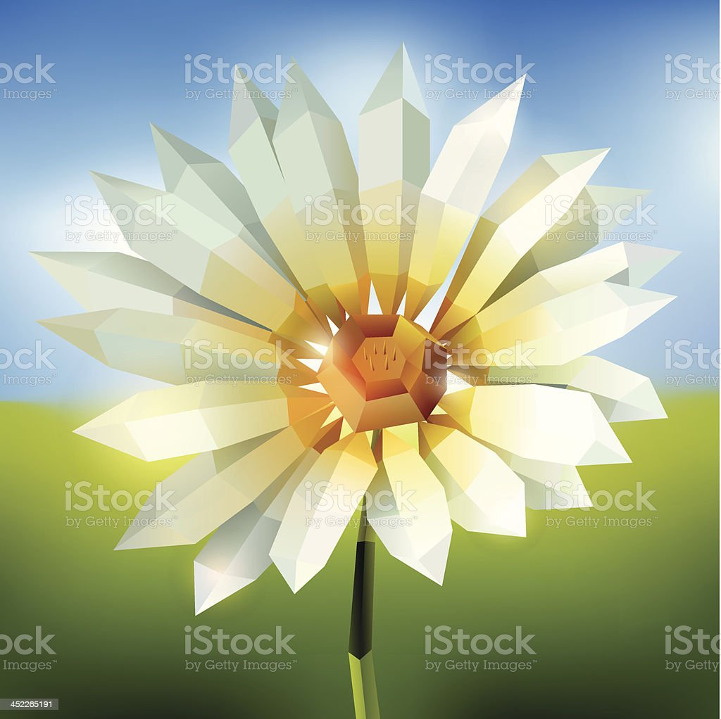 Flower in origami style on abstract background royalty-free stock vector art