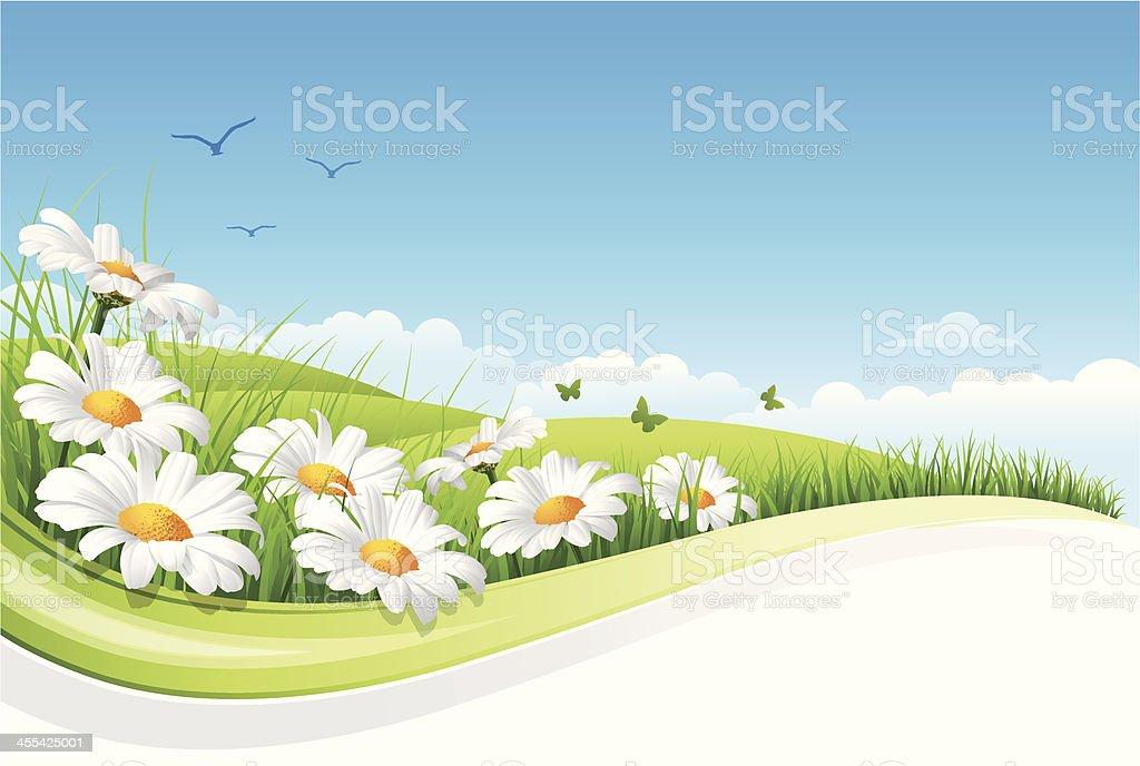 Flower Landscape vector art illustration