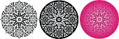 Flower mandala for coloring book. Round pattern with thick contour