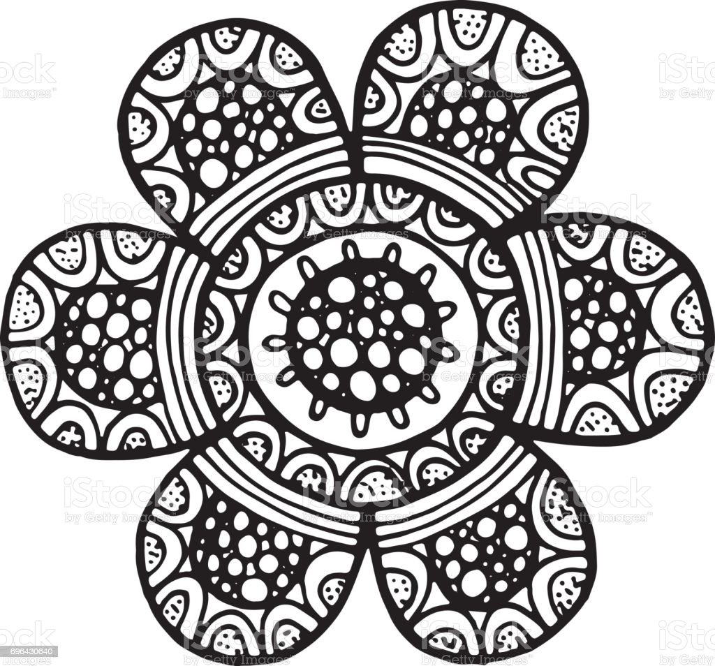 flower mandala vector isolated element floral detailed coloring