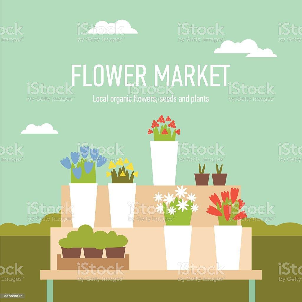 Flower market stand vector art illustration