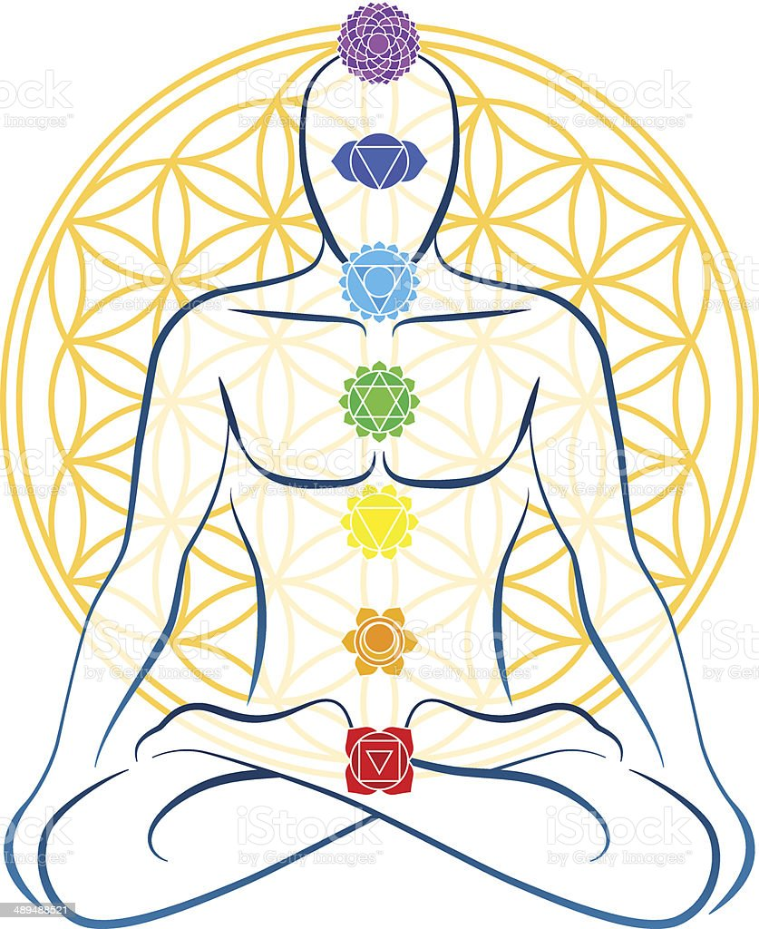 Flower Of Life Chakras Man royalty-free stock vector art