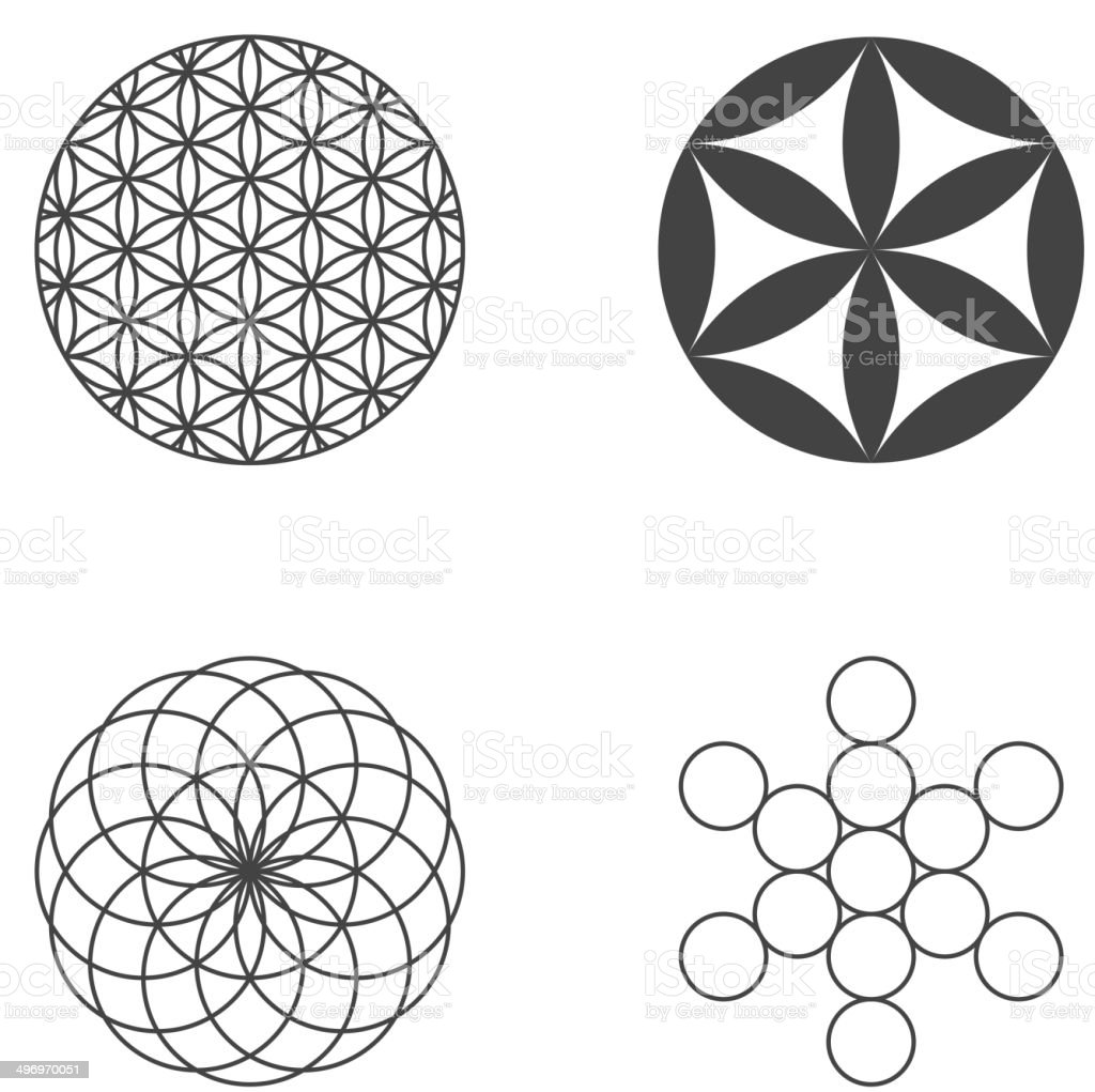 Flower of Life. set of icons. design elements vector art illustration