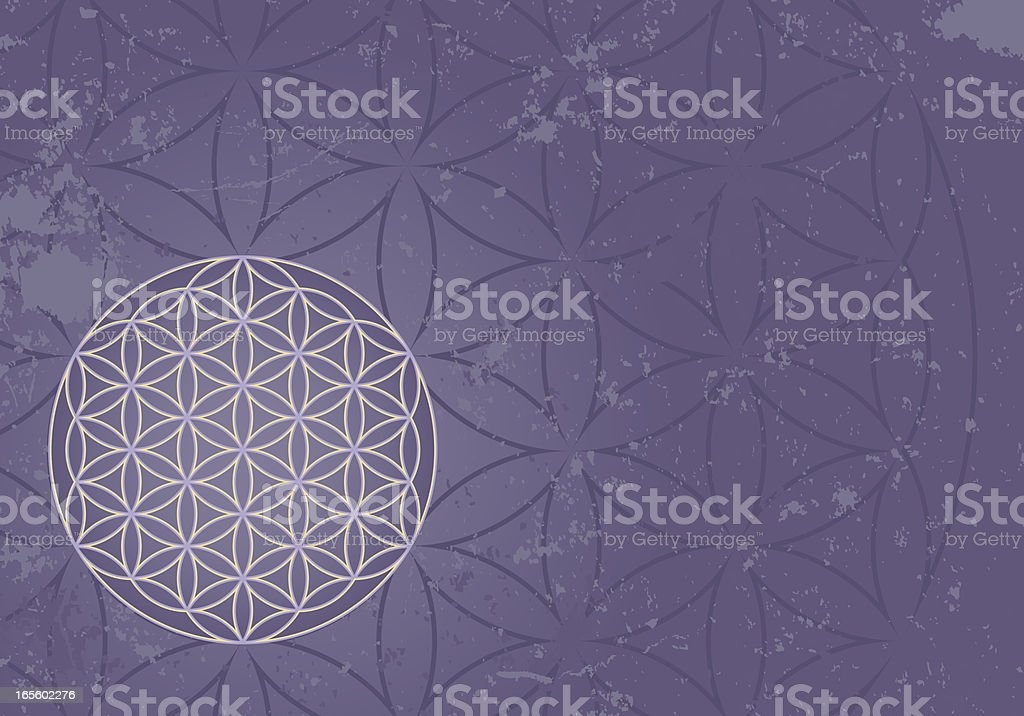 Flower of Life Symbol on Grunge Background royalty-free stock vector art