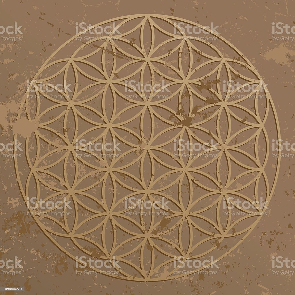Flower of Life Symbol on Grunge Stone Wall royalty-free stock vector art