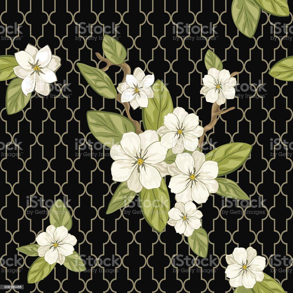 flower on black vector art illustration