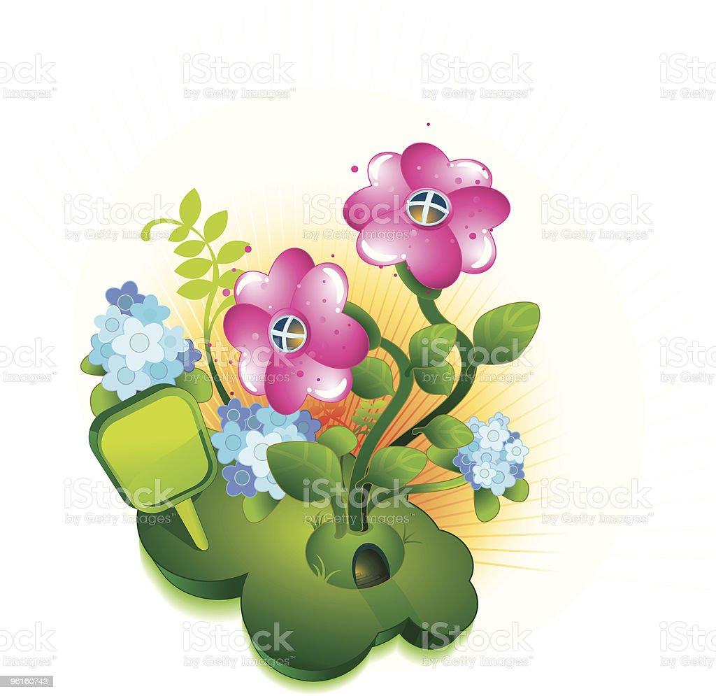Flower Ornament House vector art illustration