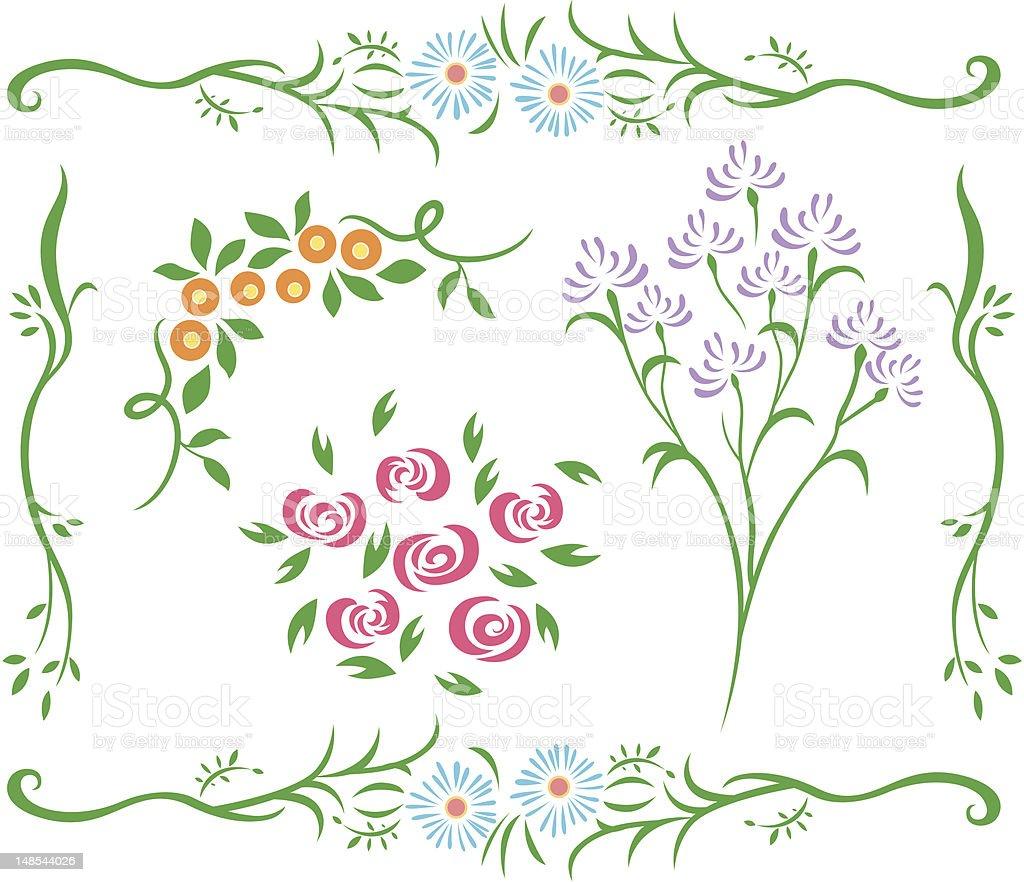 Motivo floreale design illustrazione royalty-free