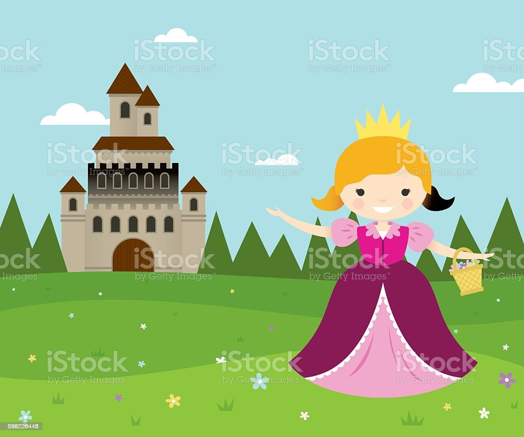 Flower Picking Princess vector art illustration