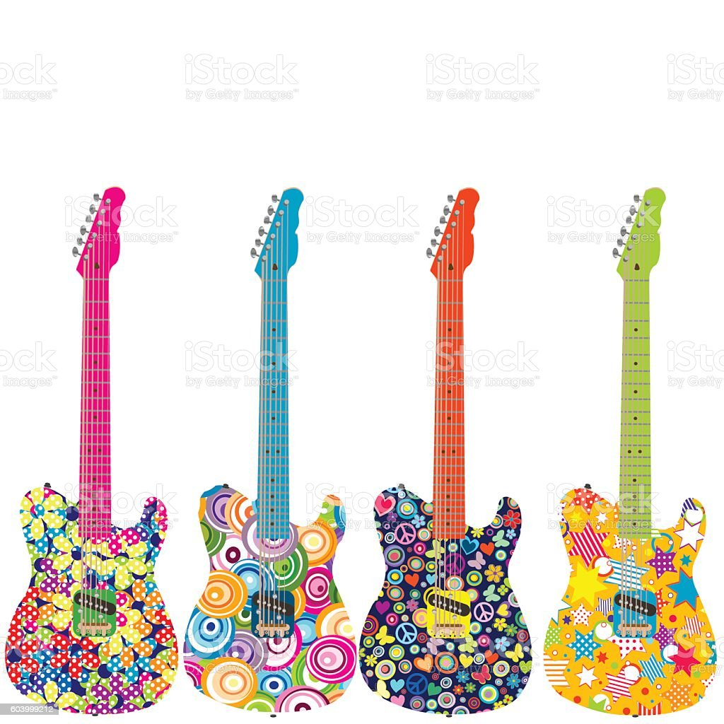 Flower power electric guitars vector art illustration